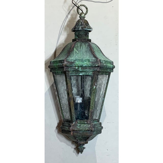 Elegant small Lantern quality made of solid brass with seeded Glass Six sides, canopy and chain included, very nice...