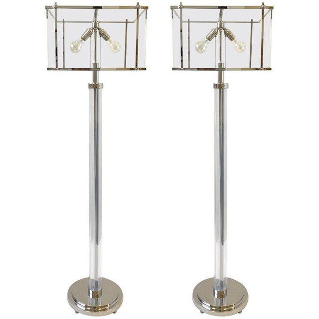 Pair of Polish Nickel and Acrylic Floor Lamps by Charles Hollis Jones For Sale - Image 9 of 9