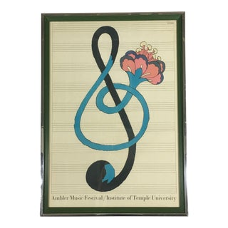 1967 Americana Original Milton Glaser Lithograph of 1967 Ambler Music Festival For Sale