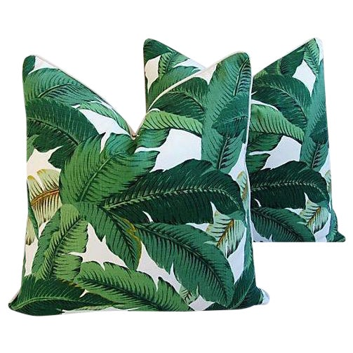 Large Custom Tropical Iconic Banana Leaf Feather/Down Pillows - a Pair - Image 1 of 6