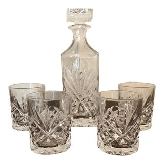 Godinger Dublin Crystal Glasses & Decanter Whiskey Set - 5 Pc. For Sale