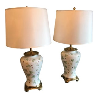 1970s Ethan Allen Vintage Chinoiserie Hand Painted Floral Lamps With Shades - a Pair For Sale