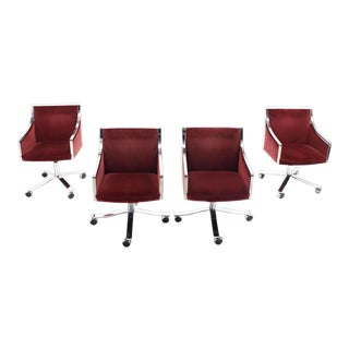 Early 20th Century Vintage Stow Davis Borsani Office Chairs- Set of 4 For Sale