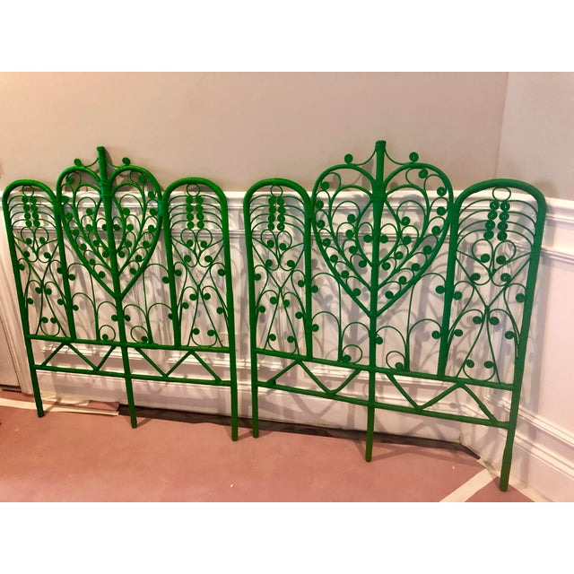 Vintage Boho Chic Wicker Emerald Green Twin Headboards - a Pair For Sale In Chicago - Image 6 of 10