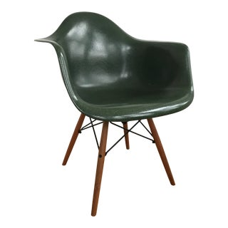 Vintage Mid Century Green Eames Fiberglass Shell Arm Chair For Sale