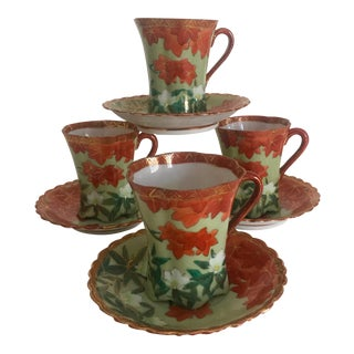 Mid-Century Japan Hand Painted Porcelain Tea Set - 8 Pieces For Sale