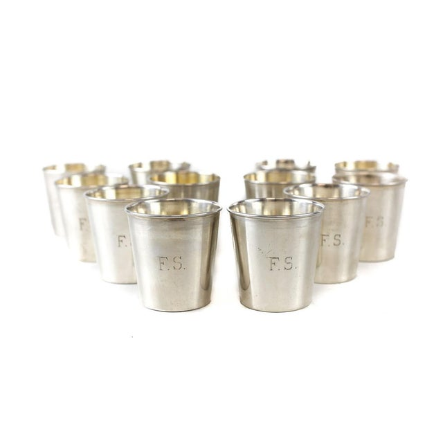 Industrial JB & SM Knowles Sterling Silver Shot Jigger Cups #G58 by Udall & Ballou, 1920 - Set of 12 For Sale - Image 3 of 5