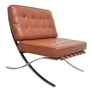 Mid-Century Chrome & Leather Barcelona Chair For Sale