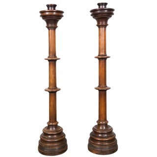 Large Wooden Candle Holders For Sale