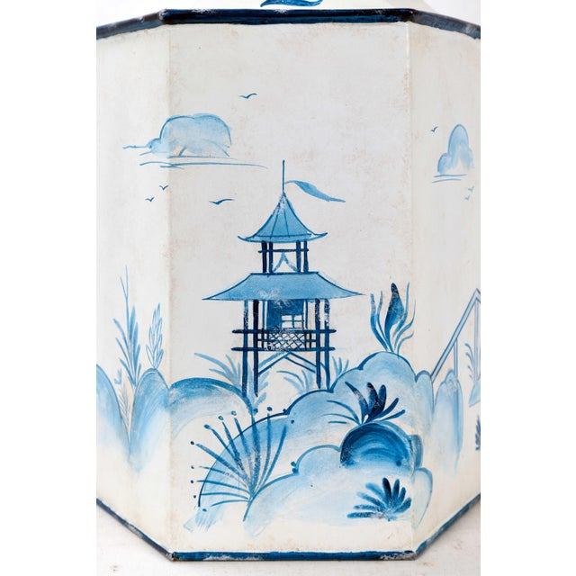 Mid 20th Century Vintage Hexagonal Blue & White Tole Tea Caddy #2 For Sale - Image 4 of 10