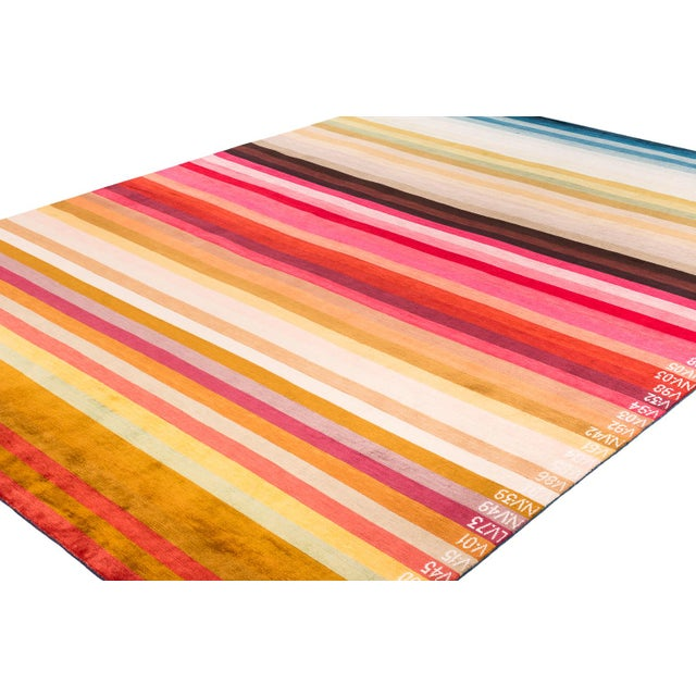 "Silk Contemporary Silk Area Rug Multi Colors by Carini-9'x12"" For Sale - Image 7 of 9"