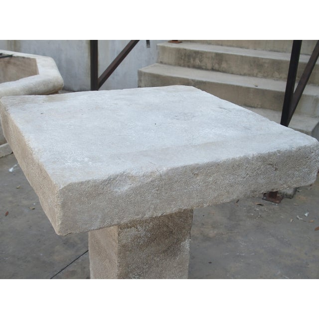 Carved Square Top French Limestone Bistro Table For Sale - Image 4 of 12