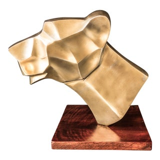 Large Brass Jaguar Head Sculpture Statue Bust For Sale