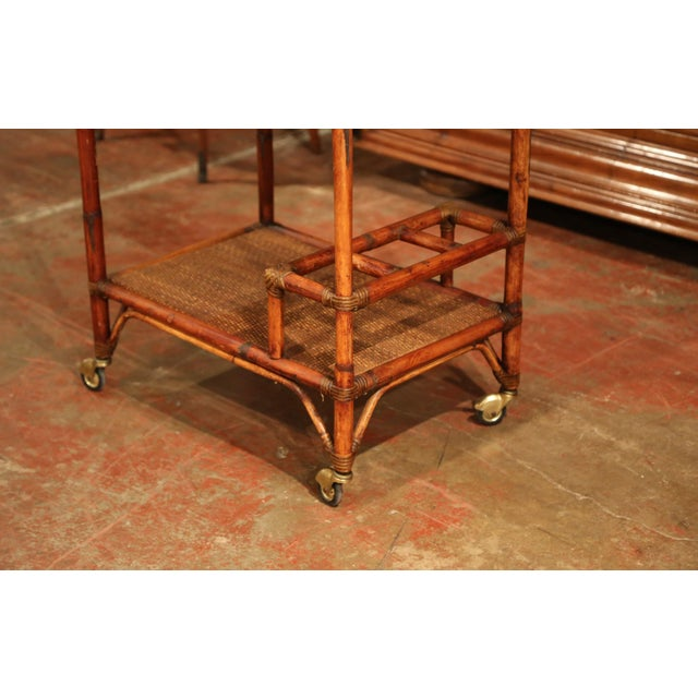 French Early 20th Century French Patinated Bamboo Two-Tier Bar Cart For Sale - Image 3 of 9