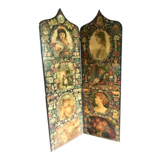 19th Century Victorian Decoupage Screen For Sale