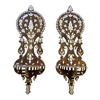 Vintage Mother of Pearl Inlaid Wall Brackets - a Pair For Sale