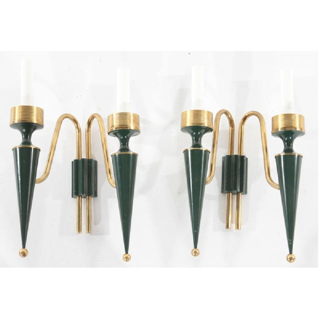 1940s 1940s Art Deco French Modernist Dark Green and Bronze Sconces - a Pair For Sale - Image 5 of 5