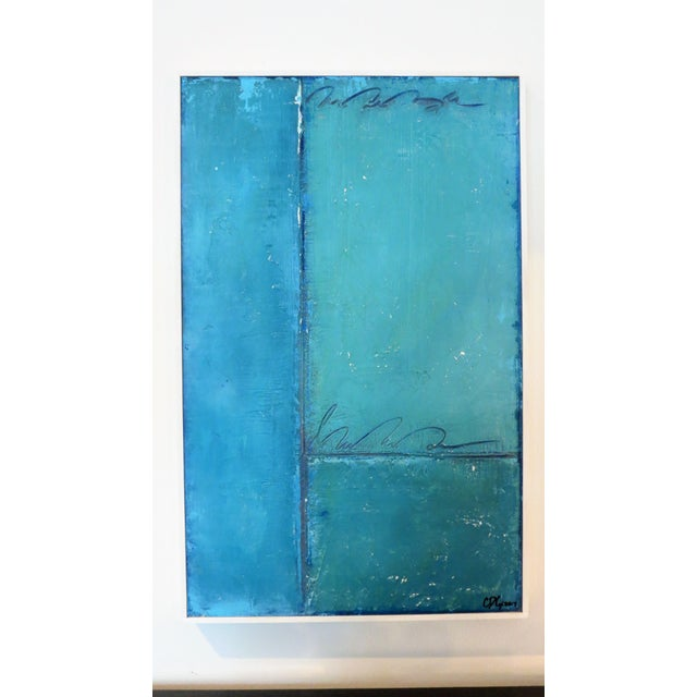 Aqua and Sky Abstract, 3. Mixed Media on Framed Panel by C. Damien Fox For Sale - Image 4 of 4