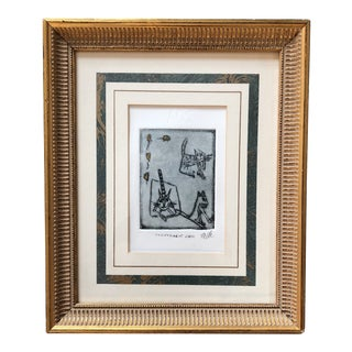 """Original """"Indifferent Cats """"Etching Signed For Sale"""