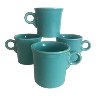 Vintage 1989 Fiesta Ware Homer Laughlin Turquoise Tom & Jerry Mugs - Set of 4 For Sale