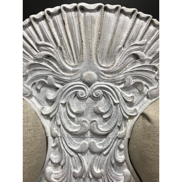 Gustiavian White Washed Baroque Style Carved Tufted Linen King Size Bedframe For Sale - Image 6 of 10