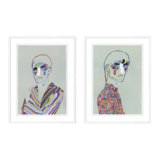 Portrait Diptych by Robson Stannard in White Frame, Medium Art Prints For Sale