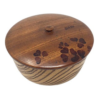 Antique Japanese Wooden Covered Bowl For Sale