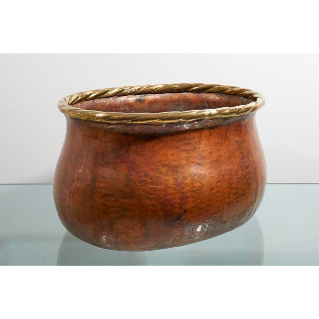 Large Oval Hammered Copper Jardiniere For Sale - Image 4 of 5