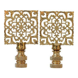 Square Filigree Brass Lamp Finials - a Pair For Sale