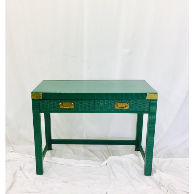 Vintage Mid-Century Campaign Green Desk - Image 4 of 11