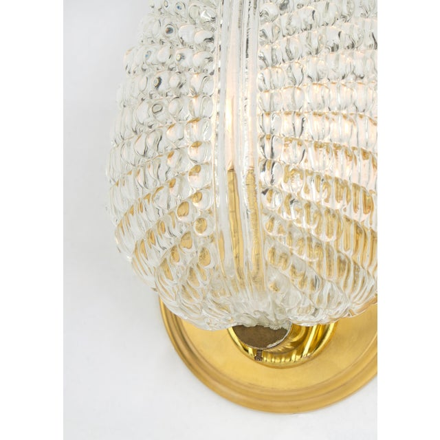 Gold Murano Glass Leaf and Brass Wall Sconces For Sale - Image 8 of 9
