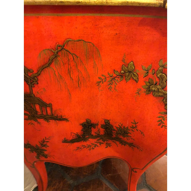 Red 1940s Coral and Gilt Chinoiserie Bombe Style Chest of Drawers For Sale - Image 8 of 13