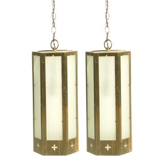 Midcentury Church Lighting, Pair -- 4 Lights Available For Sale