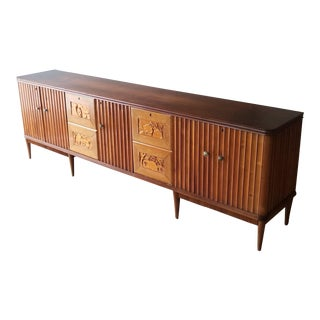 9' Custom Made Italian Credenza With Hand Carved Reliefs For Sale