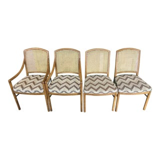 Mid-Century Modern Drexel Heritage Cane Back Dining Chairs - Set of 4 For Sale