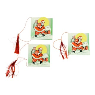 Vintage Santa Claus Bridge Tally Cards - Set of 3 For Sale