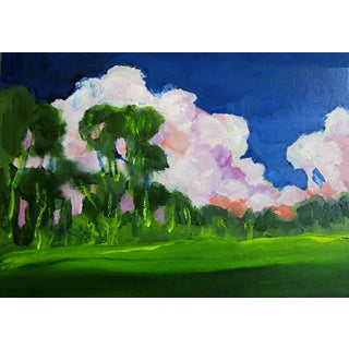 """Morning Clouds Eucalyptus Meadow Plein Air Landscape by Lynne French - 5x7"""" For Sale"""