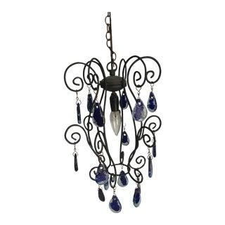 Blue Murano Teardrop Pendant Light For Sale