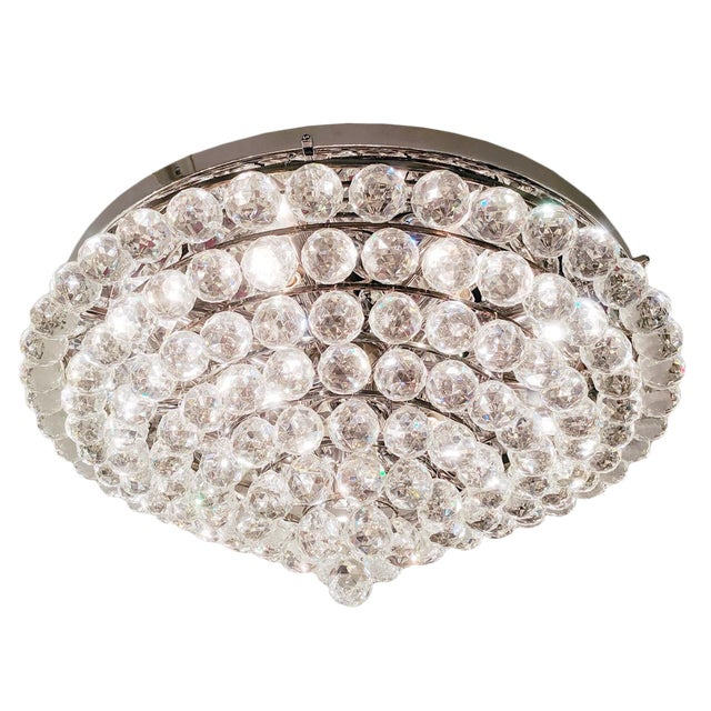 Tiered Austrian Crystal Ball Flush Mount Fixture For Sale