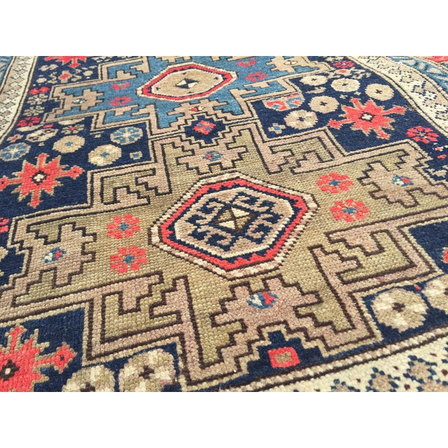 Boho Chic Antique Persian Rug Hand Knotted Caucasian Wool Rug - 3′6″ × 4′9″ For Sale - Image 3 of 8