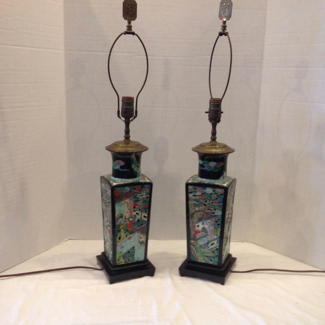 Black Early 20th Century Famille Noire Chinese Lamps - a Pair For Sale - Image 8 of 13