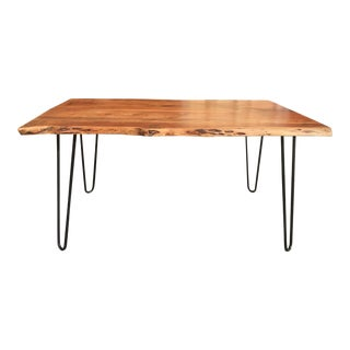 Handcrafted Live Edge Acacia Wood Dining Table For Sale
