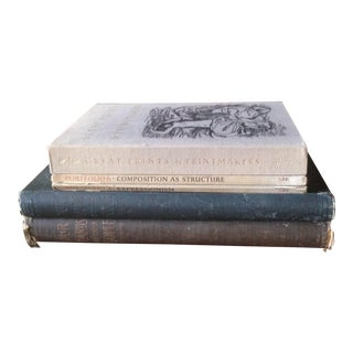 Vintage Oversized Gray Tone Decorative Books - Set of 5 For Sale