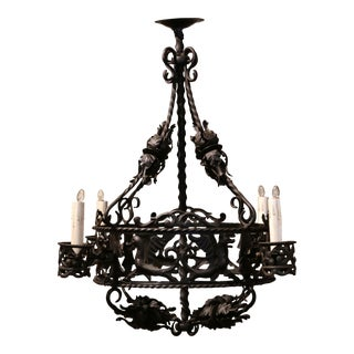 19th Century French Gothic Black Wrought Iron Four-Light Chandelier For Sale