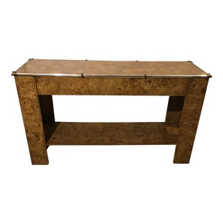 1970s Hollywood Regency Faux Burl Wood Laminate Console For Sale