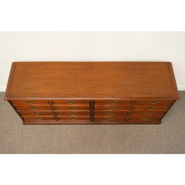 """Late 20th Century Sligh Furniture Solid Cherry Chippendale 74"""" Double File Cabinet Credenza For Sale - Image 5 of 13"""