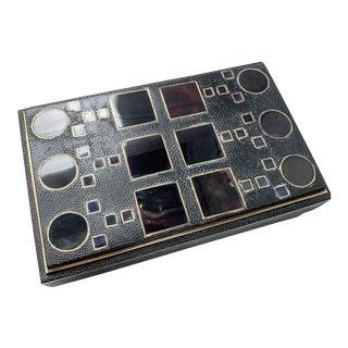R & Y Augousti Kifu Paris Art Deco Black Shagreen and Penshell Box For Sale