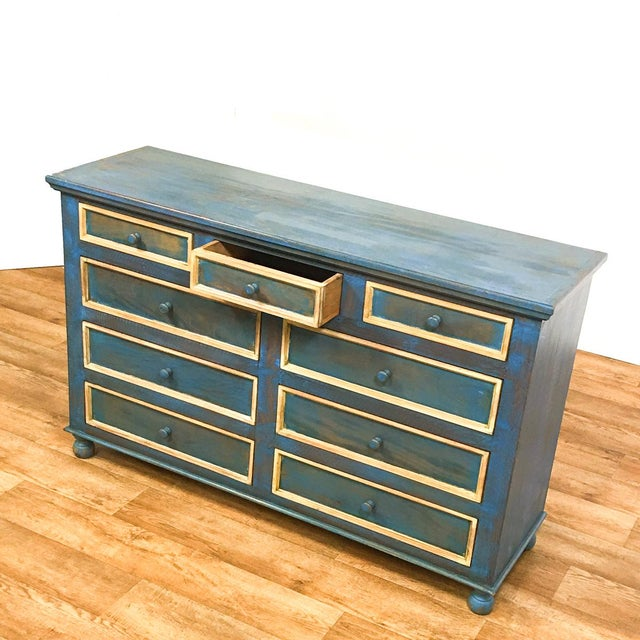 Reclaimed Peroba Rosa Wood Distressed Blue Chest of Drawers/Dresser - Image 3 of 8