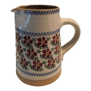 1980s Nicholas Moses Old Rose Pottery Pitcher For Sale