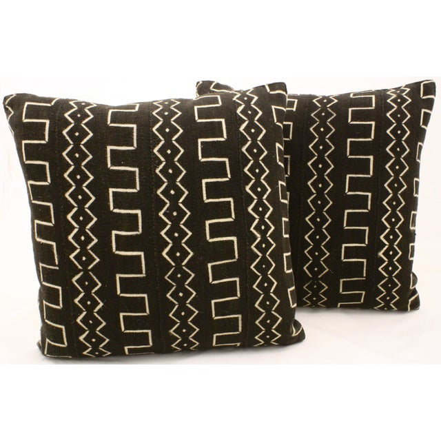 African Black Mud Cloth Pillows - A Pair - Image 2 of 3